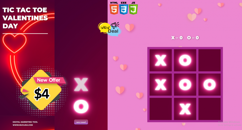 Tic Tac Toe Valentines Day Game