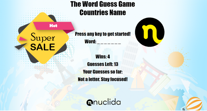 The Word Guess Game Countries Names - HTML5 Game