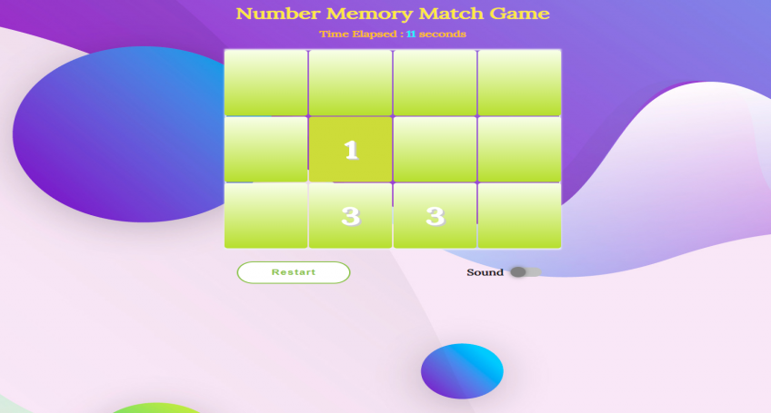 Number Memory Match Game