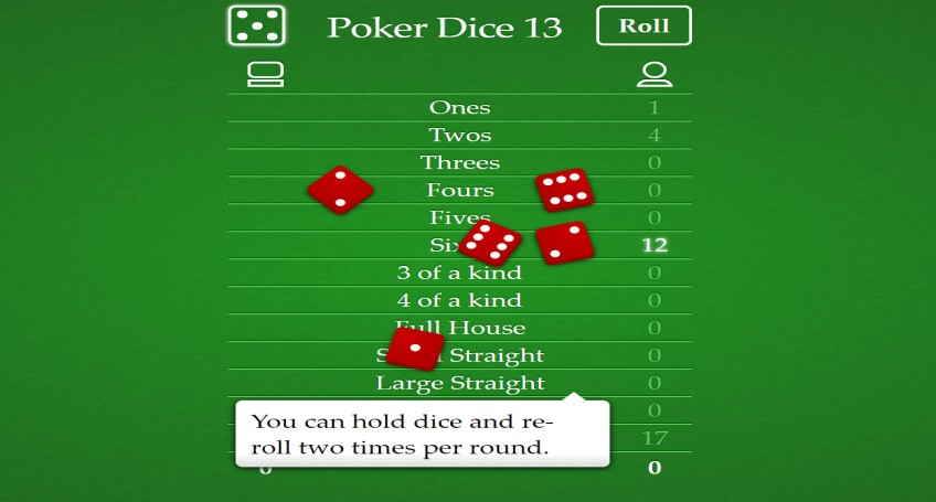 POKER DICE 13 HTML5 GAME